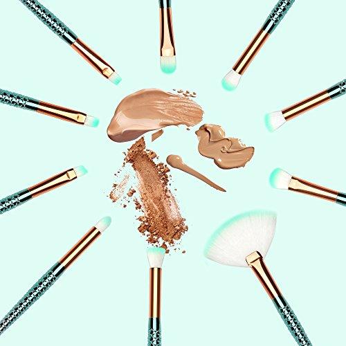 Make Up Brushes Insomnier 10+1 Pcs Colorful Makeup Brushes Set Silicon Makeup Sponge Mermaid Synthetic Kabuki Foundation Eyebrow Eyeliner Blush Cosmetic Concealer Brushes Kit