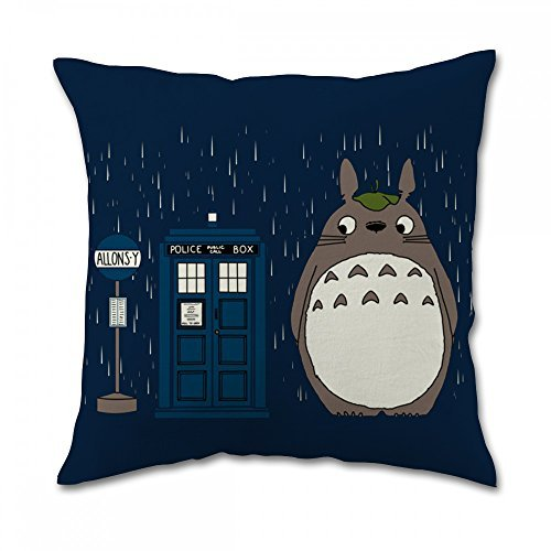 Tardis Dr Who Totoro Pillow Covers (18x18 inch one side) (Custom Thread Products)