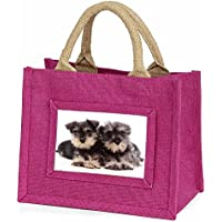 Advanta Miniature Schnauzer Dogs Little Girls Small Shopping Bag Christmas Gift, Jute, Pink, 25.5 x 21 x 2 cm
