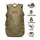 Hisea Taktischer Rucksack Militär Wanderrucksack Molle Daypack für Outdoor Wandern Camping Reisen,15 liters,Braun Farbe