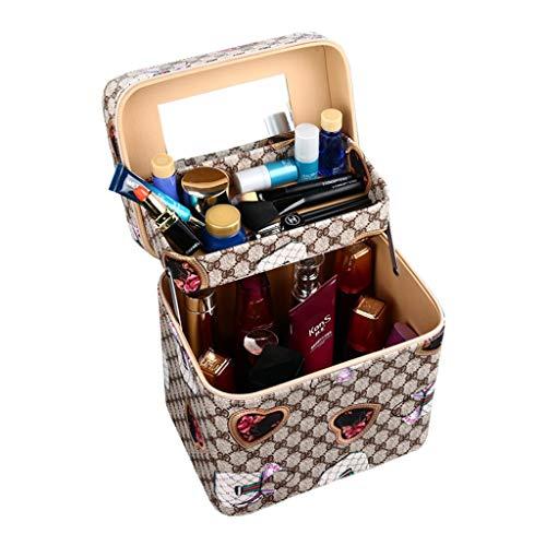 Trousses à maquillage Cas cosmétique, Portable cosmétique Sac cosmétique boîte de Rangement cosmétique de Grande capacité Jolie Fille Embrayage Portable (Color : Khaki, Size : 18 * 18 * 24cm)