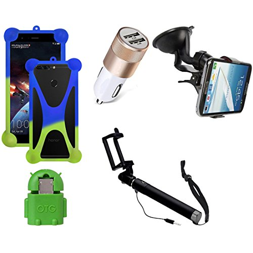 Casotec 5 in 1 Combo offer Car Mount Holder / Mobile Cover / Selfie Stick Monopod / Car Charger / OTG for Samsung Galaxy A7