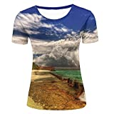 WEIYI BO Damen 3D Printed Casual Summer Tees Shirts Cozy Resort Landscape Graphic Crewneck Short Sleeve T-Shirts XS