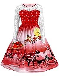 ZEZKT Festlich Damen Karneval Weihnachten Kleid - Rot Starts Print Langarm Kleid Frauen Mädchen Knielangen Rockabilly Swing Dress Übergrößen