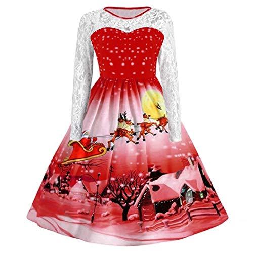 YWLINK Damen Weihnachten Vintage Cocktail Abschlussball Kleider Rockabilly Mode Spitze Lange ÄRmel...