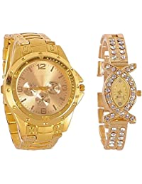 Krupa Enterprise Combo Analog Casual Classical Gold Dial Wrist Couple Watch For Man's & Woman's Pack Of 2 (Gold...