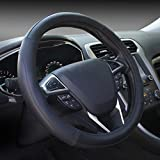 Microfiber Leather Black Steering Wheel Cover Universal...