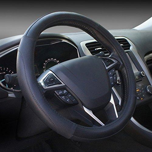 Microfiber Leather Black Steering Wheel Cover Universal Fit 38cm