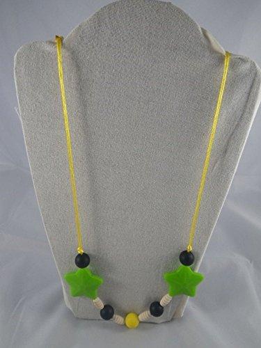 Collier de portage/allaitement jaune, vert et étoiles