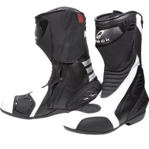 #Black Strike – Motorrad-Stiefel – wasserdicht – Sport/Racing – Weiß – EU43 (UK9)#