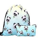 RHCPFOVR 2 Piezas con cordón Impermeable para niñas, Mochila con Estampado y Mochila de Viaje (Panda)
