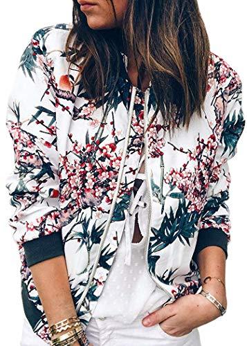 Damen Lange Ärmel Jacke Stand Kragen Reißverschluss Florale Bomberjacke Outwear Kurz Coat (EU (S), Blau)