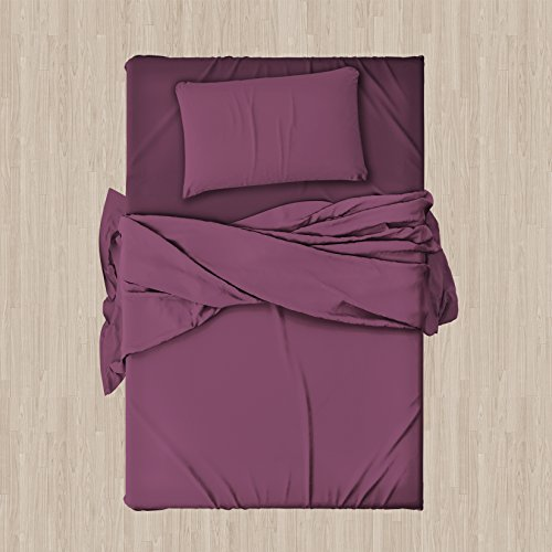 Set completo di lenzuola e federe da letto singolo tinta unita ,col.malva in microfibra