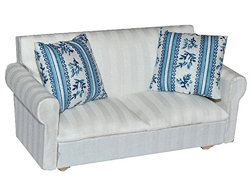 Preisvergleich Produktbild Miniatur Sofa / Couch mit 2 Kissen - für Puppenstube Maßstab 1:12 - Puppenhaus - Puppenhausmöbel Sessel Wohnzimmer Klein