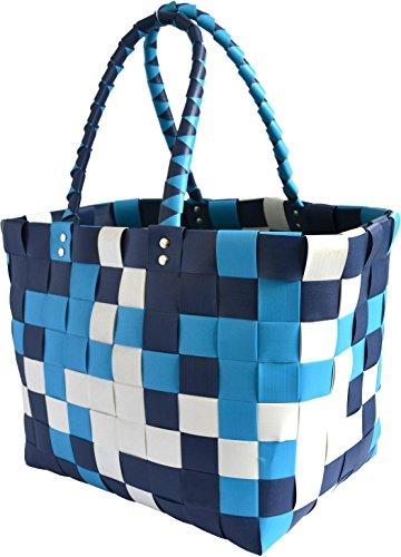 GearUp Große Wasserabweisende Einkaufstasche - Henkeltasche - Tragetasche - Tragekorb - geflochtener bunter Strandkorb Farbe Classic/Aqua