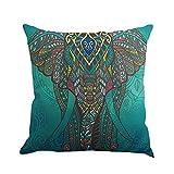 Cushion Cover, Hankyky Linen Mandala Style Pillow Case Elephant Tree Flowers Moon Sun Printed Home Decor Throw Sofa Car, 18 x 18 inch
