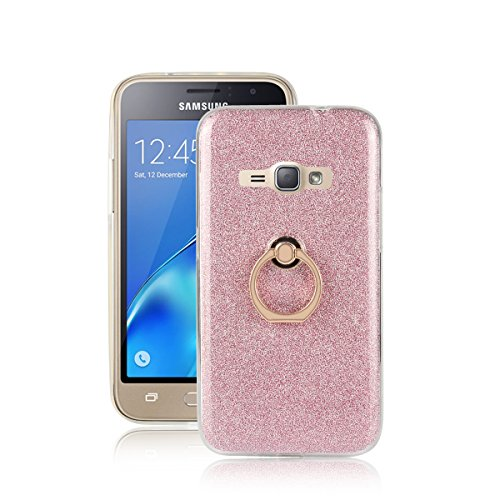 Skitic Bling Glitter Sticker Pellicola Custodia per Samsung Galaxy J1 (2016), Lusso Ultra Sottile Morbido TPU Bumper Brillare Posteriore Protettiva Case Cover con 360 Degree Rotating Metallo Ring Stand Holder - Rosa