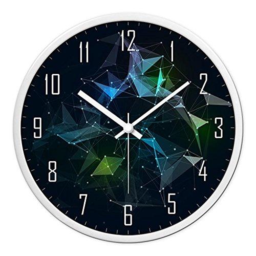 Horloges métalliques et Montres Quartz Sweep Ronde Murale Secondes Silencieux muet Convient pour Chambre et Salon Taille 30.5cm (12inch) (Color : Black-A, Size : 35.5cm(14inch))
