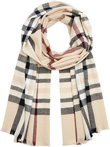 FRAAS Karierter Schal für Damen & Herren XXL - Made in Germany - Moderner Decken-Schal - The Plaid mit Karo-Muster Beige