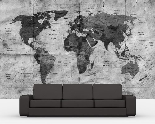 bilderdepot24-pajetee-peint-photo-autocollant-autoadhesif-retro-carte-du-monde-ii-noir-et-blanc-130x