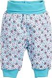 Schnizler Baby-Mädchen Jogginghose Pumphose Blumendruck mit elastischem Bauchumschlag, (Türkis 15), Frühchen (Herstellergröße: 44)