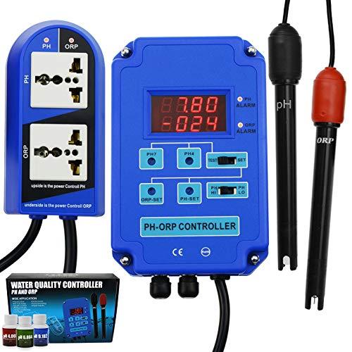 2 en 1 pH ORP Redox Controlador Agua Calidad Ensayador Reemplazable BNC Tipo Electrodo Laboratorios Análisis Acuario Hidroponia