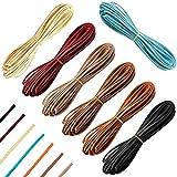 SANTOO Cuerda Cuero de Alta Calidad - 7 Piezas 6 mx 3 mm x 1.5 mm - Cordón Cuero para Todo Tipo de Fabricación de Mano y Manualidades DIY como Pulseras Collares Joyería o Bisutería