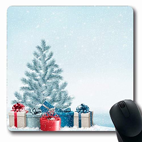 Luancrop Mousepad für Computer Notebook Feier Blau Weiß Weihnachtsbaum Geschenke Feiertage Schneefall Grün Snowy Snow Xmas Box Design rutschfeste Gaming-Mausunterlage (Große Weihnachtsbaum-box)