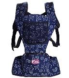 Glield Baby und Kindertrage Babybauchtrage Rückentrage mit integriertem Sitz 3 Tragepositionen ETBD01 (Blau)