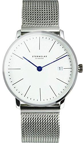 STERNGLAS Bauhaus Uhr 38mm mit Anti-Reflex Saphirglas | Schnellwechselband | RONDA Uhrwerk | KICKSTARTER | Minimalistische Armbanduhr | Herrenuhr | Zifferblatt weiß | Milanaise-Armband