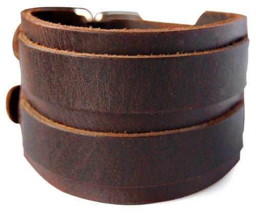 axy LAB1-5 LEDERARMBAND BREIT Serie! ECHT Leder Armband Leather Bracelet! Surferarmband Herren (Braun/Brown) - Echte Serie