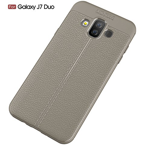Coque Samsung Galaxy J7 Duo,Ultra Mince Léger Antichoc Flexible TPU Souple Silicone Protection Housse Etui Case Cover pour Samsung Galaxy J7 Duo - Gris