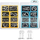 YGZN Metal Wire Puzzle Set of 16 with Pouch,IQ Test Mind Game Brain Teaser Magic Trick Toy for Kids and Adults