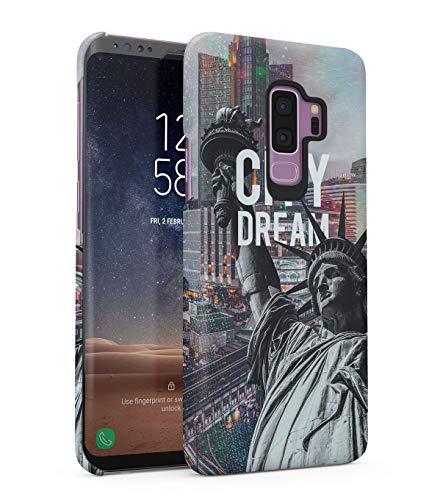 Hülle Hardcase Kompatibel mit Samsung Galaxy S9 Plus Sparkles Trippy Holografisch Holographic New York Amerika Liberty Statute USA Dream Country Manhattan NYC eng Anliegendes Dünnes Handyhülle -