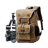 Borsa fotografica borsa tela, zaino per fotocamera reflex borsa DSLR grande borsa da viaggio anti-urto impermeabile per fotocamera professionale organizer per obiettivo fotocamera Khaki