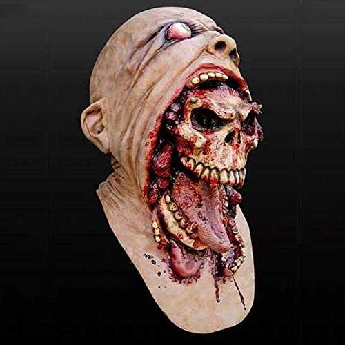 QCHNES Haunted House Secret Room Escape Horror Ekelhafte Maske Halloween Alien Variation Biohazard Zombie Headgear (Wie Macht Mann Ein Zombie Kostüm)