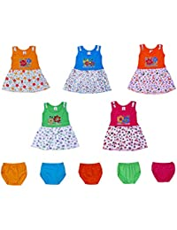 GREEN TEE Baby Girls Cotton Frocks - Pack of 5 (6-12 Months, Multicolour)