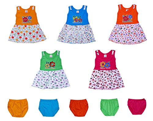 GREEN TEE Baby Girl Cotton Frocks - Pack of 5 (6-12 Months)(Multi-Color)