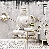 HYDQT Carta da parati murale in PVC autoadesivo 3D Murale in rilievo Tempio del Buddha Zen (W) 430x (H) 300 cm Camera dei bambini Decorazioni per la casa Camera da letto Soggiorno Divano Sfondo Cor