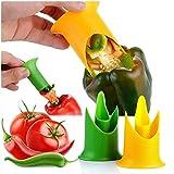 libeauty 2pcs Taglierina Pepe Jalapeno Corer Rimozione Utensile da Cucina per Carotaggio Pomodoro Frutta Verdura Useful Benefit