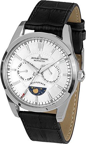 Jacques Lemans Liverpool Moon Phase Men's Watch Analogue Quartz Leather 11901A