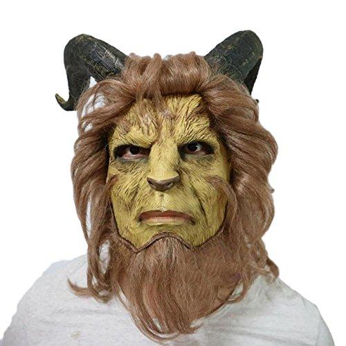 Beauty and The Beast Living Mask Cosplay Halloween Prince Beast Maske,Yellow,OneSize - Cosplay Beauty Beast