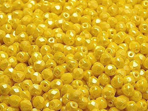 100pcs Tchèque facettes perles de verre, Fire-Polished Beads, ronde 4mm Lemon (Yellow Opaque)