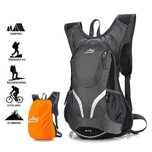 Zaino per bici, zaino da ciclismo impermeabile e traspirante con copertura antipioggia, zaino da sci leggero da 15 litri, borse sportive per bicicletta escursionismo campeggio alpinismo sci trekking (grey)