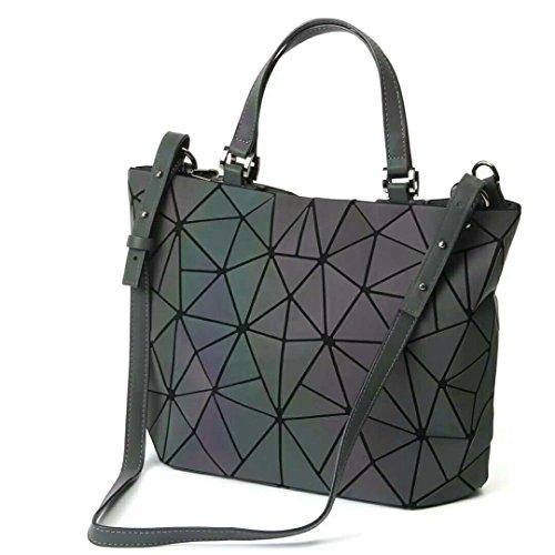 Qingmei-EU Frauen Top-Henkeltaschen Geometrische leuchtende Tasche PU-Leder Geldbörsen und Frauen Handtaschen Scherbe-Gitter-umweltfreundlicher holographischer Geldbeutel Damen Schultertasche