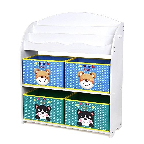 Homfa mensola libreria porta giocattoli con scatole per bambini, organizzatore portagiocattoli scaffale legno con 4 cesti in non-woven, 3 ripiani porta libri