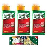 Roundup AC Konzentrat - 3x 400 ml - Unkrautvernichter zur Bekämpfung von Moos und Unkräutern - inkl. DETIA Fruchtfliegenfalle