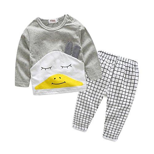 Bekleidung Longra Baby Kinder Mädchen Jungen Kleidung Set Cartoon Langarm T-Shirt + karierten Hosen Outfit Kleiderset 2PCS (0-24Monate) (80CM 12Monate, Gray)
