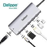 Delippo USB C Hub 4K HDMI,2 USB 3.0 Ports,Type C Adapter,SD Card Reader,1000M Ethernet Ports 6 IN 1 Multifunction Adapter for MacBook Pro, Dell XPS 15 13, Lenovo Yoga 720, Chromebook, MEHRWEG