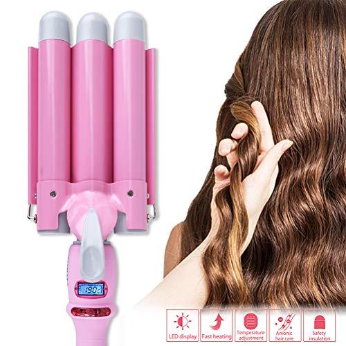 Drei Rohr Lockenstab Multifunktionale Haarlockenwickler für Lange/kurze Haare Automatische Wave Roll Haarstock S-förmige Lockenwickler Rosa